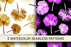 2 watercolor vector leaves patterns