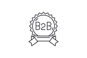 B2b line icon concept. B2b vector