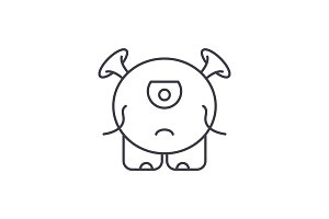 Baby monster line icon concept. Baby