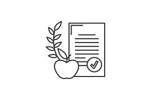 Balanced diet line icon concept