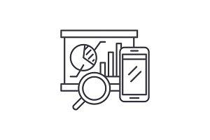 Balanced scorecard line icon concept