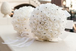 White Bridal Bouquet On Wedding Day
