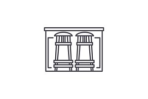 Bar counter line icon concept. Bar