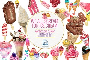 Ice Cream Watercolor Clipart 223 PNG