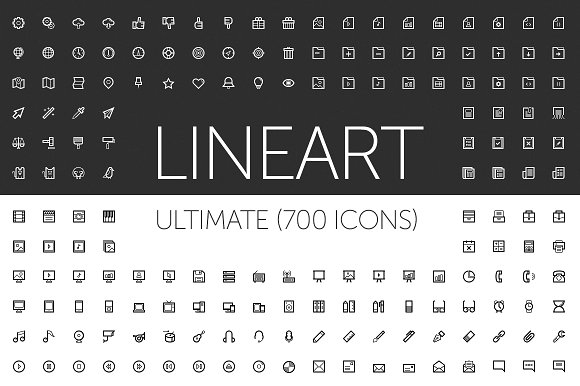 Line Art Icon : Lineart icons creative market