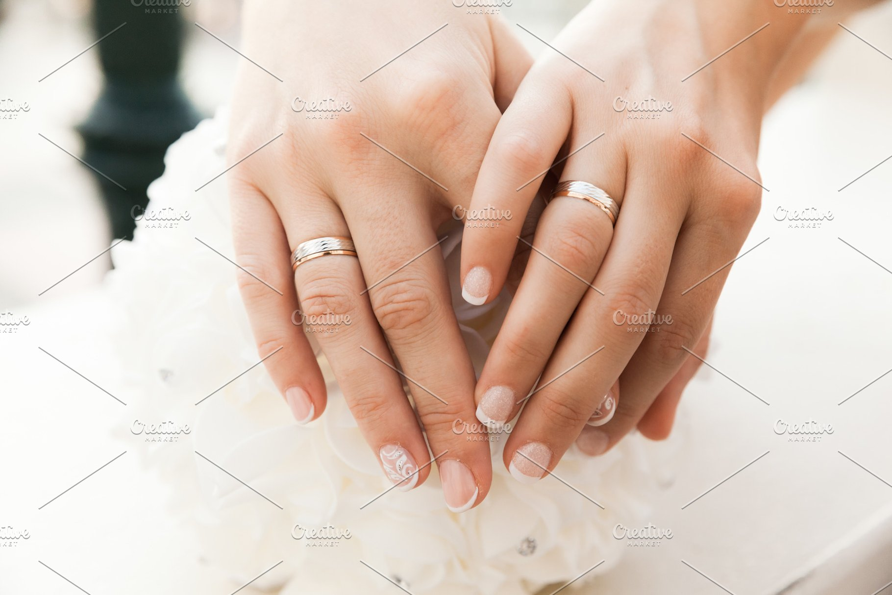 Closeup Of Hands With Wedding Rings People Photos Creative Market