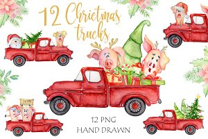 Christmas truck Watercolor holiday