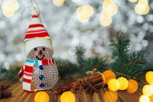Christmas snowman toy greeting card