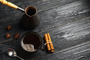 Hot strong black Turkish coffee in a