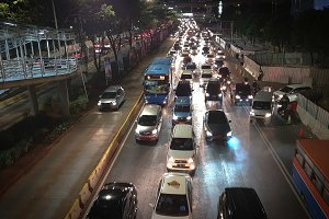 The road jammed with vehicles