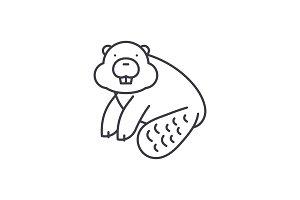 Beaver line icon concept. Beaver