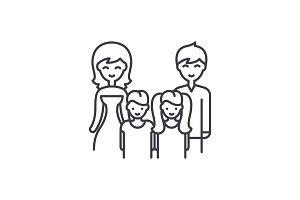 Big family line icon concept. Big