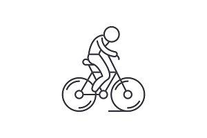 Biking line icon concept. Biking