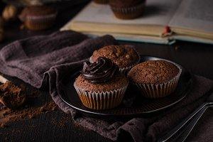 Chocolate muffins photography