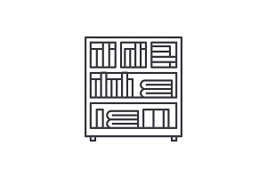 Bookcase line icon concept. Bookcase
