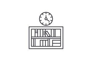 Bookshelf with clock line icon