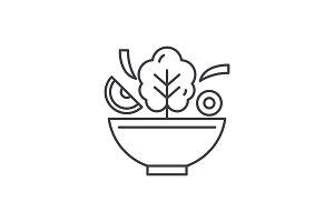 Bowl of salad line icon concept