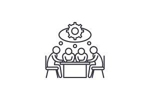 Brainstorming line icon concept