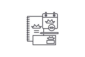 Branding book line icon concept