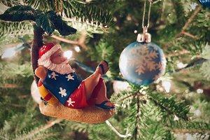Hawaiian Santa Ornament