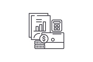 Budget planning line icon concept