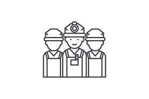 Builders line icon concept. Builders