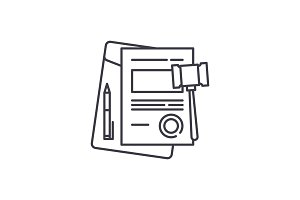 Business law line icon concept