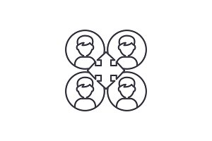 Business networking line icon