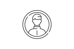 Business profile line icon concept