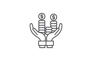 Business profit line icon concept