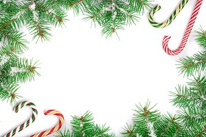 Christmas Frame of Fir tree branch