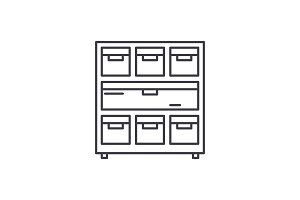 Cabinet with documents line icon