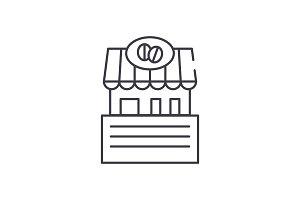 Cafe line icon concept. Cafe vector