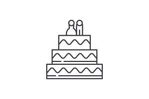 Cake for lovers line icon concept