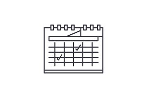 Calendar planning line icon concept