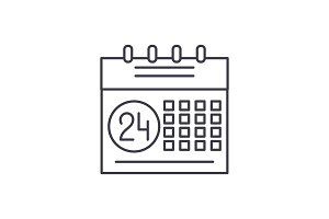 Calendar planning system line icon
