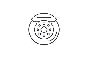 Car brake pads line icon concept