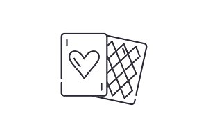 Card games line icon concept. Card