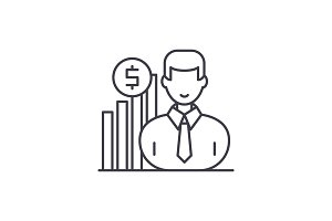 Career growth manager line icon
