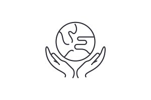 Caring for the world line icon