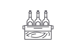 Case of beer line icon concept. Case