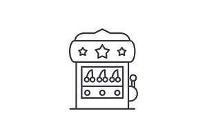 Casino machine line icon concept
