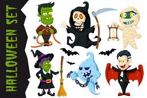 Halloween Flat Cartoon Character Set