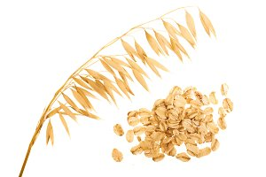 oat spike with oat flakes isolated
