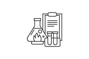 Chemical experiments line icon