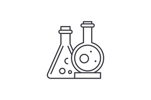 Chemical laboratory line icon