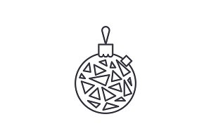 Christmas ball line icon concept