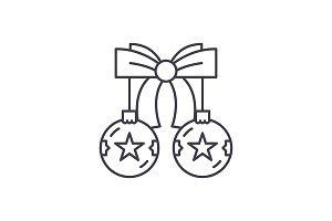 Christmas balls with bow line icon