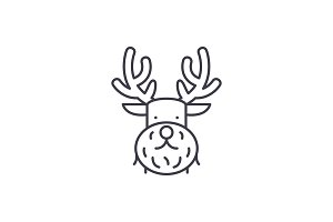 Christmas deer line icon concept