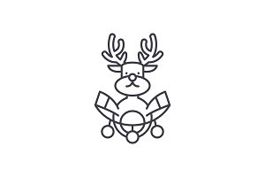 Christmas deer decoration line icon